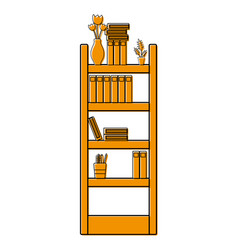 Color education bookcase with folders document vector