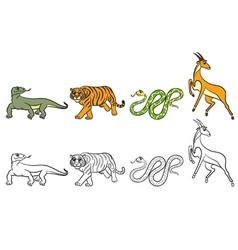 Coloring page antilopa tiger varan boa vector