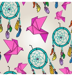 Cute background with origami and dream catchers vector