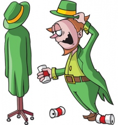 drunk leprechaun vector image