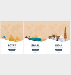 egypt israel india time to travel set of vector image vector image