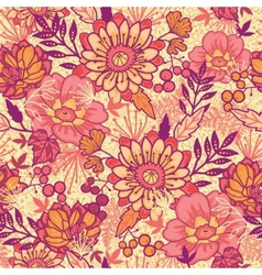 Fall flowers seamless pattern background vector