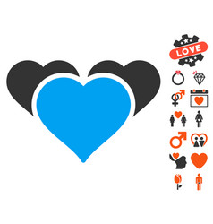 favourite hearts icon with love bonus vector image
