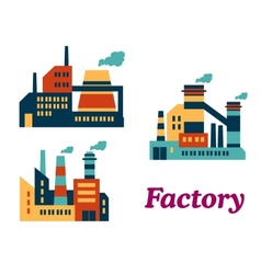 Flat factories icons vector image vector image