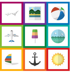 Flat icon beach set of sunshine surfing ocean vector