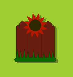 flat icon design collection fence and sunflowers vector image vector image