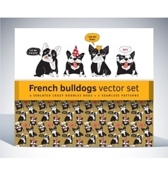 French bulldog set pack characters pattern and vector image vector image
