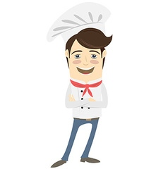 Funny chef standing with his arms folded vector