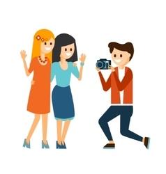 Girls taking photo vector