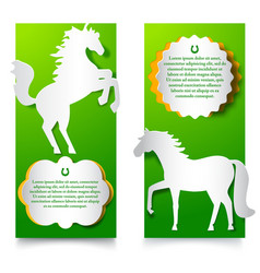Green vertical banners with jumping horse vector