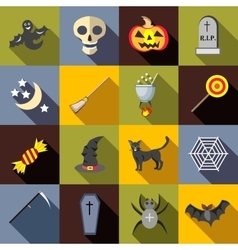 Halloween icons set flat style vector