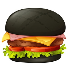 Hamburger with black bun vector