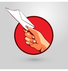Hand presenting a letter vector