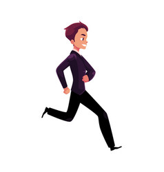 Happy businessman in business suit running vector