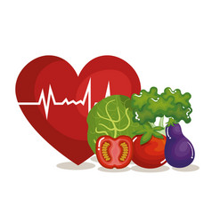 Heart cardio with vegetables icon vector