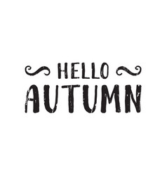 Hello autumn inscription vector