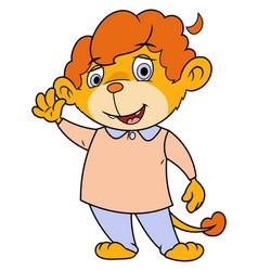 little lion waving hand 2 vector image vector image