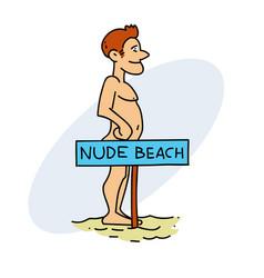 nudist man vector image vector image