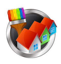 painting of houses symbol vector image vector image