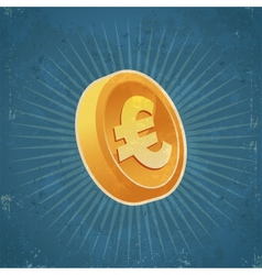 Retro Gold Euro Coin vector image