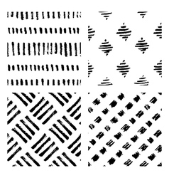 Seamless hand drawn ink patterns vector