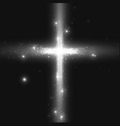 Shining cross on monochrome vector