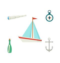 Ship anchor compass telescope message bottle vector