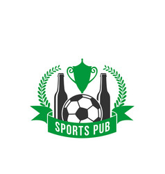 sport pub icon of beer and football or soccer ball vector image