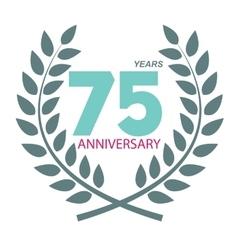 Template Logo 75 Anniversary in Laurel Wreath vector image vector image