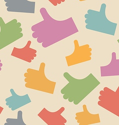 Thumbs up seamless pattern background hands vector image vector image