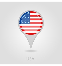 United States of America flag pin map icon vector image vector image