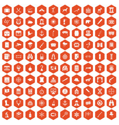 100 binoculars icons hexagon orange vector