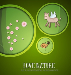 With nature and horse vector