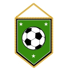 Green soccer pennant isolated white vector image