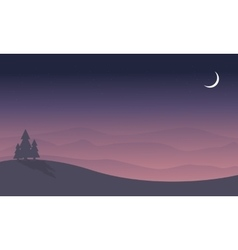 Silhouette of hill and spruce scenery vector