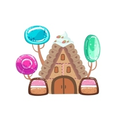 Fairy tale house with candy trees fantasy candy vector