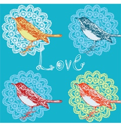 Vintage background with birds vector