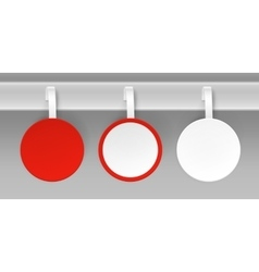Set of blank white red paper plastic price wobbler vector