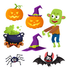 Halloween set - witch hat caldron pumpkin vector
