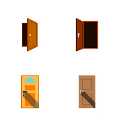 Flat icon approach set of entrance entry vector