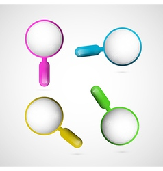 3d blue pink yellow and green magnifying glass set vector
