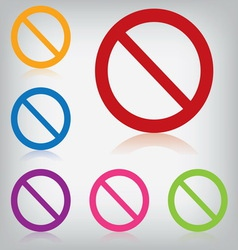 Pack colorful sign forbidden isolated vector