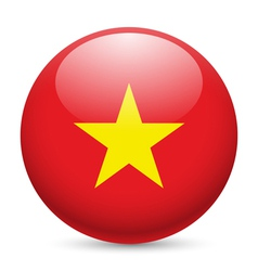 Round glossy icon of vietnam vector