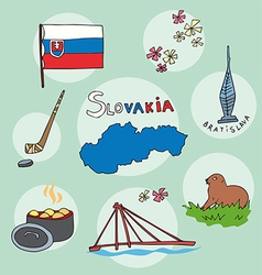 Set of national profile of the slovakia vector