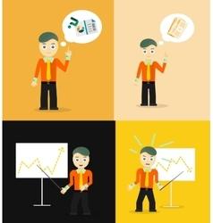 Set of cute cartoon young businessmen idea vector