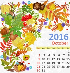 Calendar for 2016 october vector