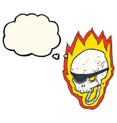 Cartoon flaming pirate skull with thought bubble vector