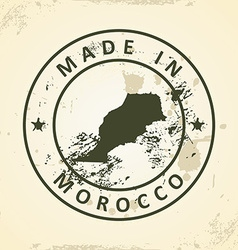 Stamp with map of Morocco vector image
