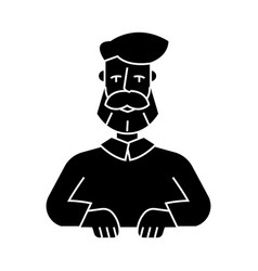 beard man icon black sign on vector image vector image