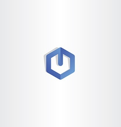 blue letter u hexagon logo logotype vector image